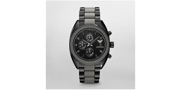 Pánské černo-šedé hodinky Emporio Armani