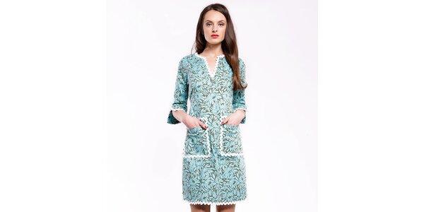 Dámské modré šaty Almatrichi s květinovým vzorem a bílými lemy