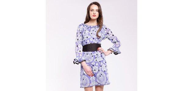 Dámské fialovo-bílé šaty s černými detaily Almatrichi