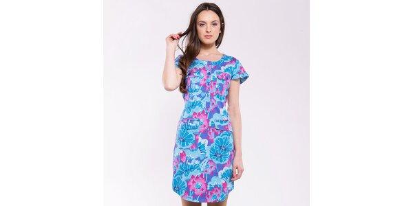 Dámské tyrkysovo-růžové šaty s kapsami Almatrichi