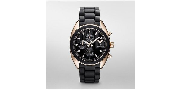 Pánské černo-zlaté hodinky Emporio Armani se silikonovým páskem