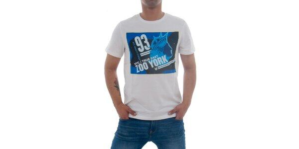 Pánské bílé tričko Zoo York s modrým potiskem