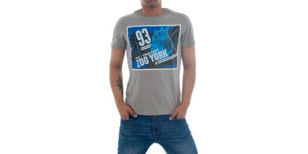 Pánské šedivé tričko Zoo York s modrým potiskem