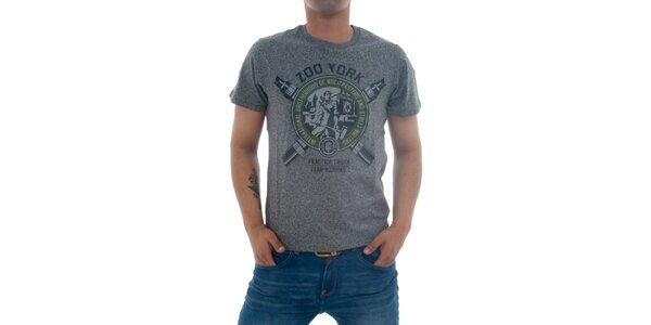 Pánské šedivé tričko Zoo York s potiskem