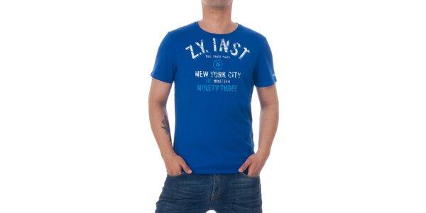 Pánské modré tričko Zoo York s bílým potiskem