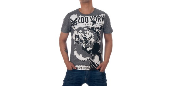 Pánské šedivé tričko Zoo York s černo-bílou koláží