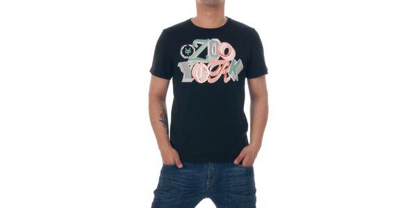 Pánské černé tričko Zoo York s barevným logem