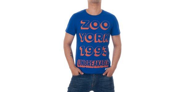 Pánské modré tričko Zoo York s oranžovým potiskem