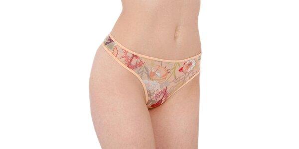 Dámské meruňkové tanga kalhotky Marlies Dekkers s potiskem divoké louky