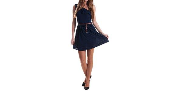 Dámské tmavě modré šaty s páskem Stradivarius