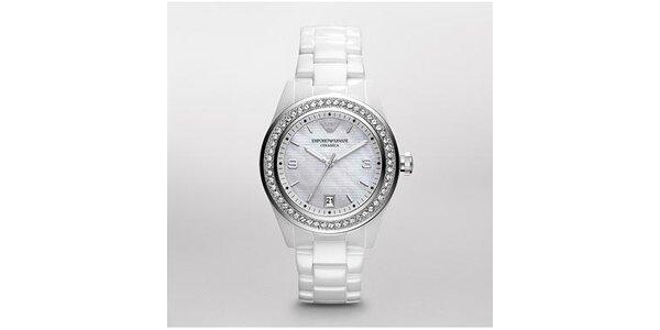 Dámské bílé keramické hodinky Emporio Armani s krystaly Swarovski