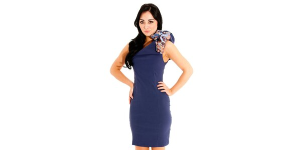 Dámské tmavě modré pouzdrové šaty Jolaby s velkou mašlí