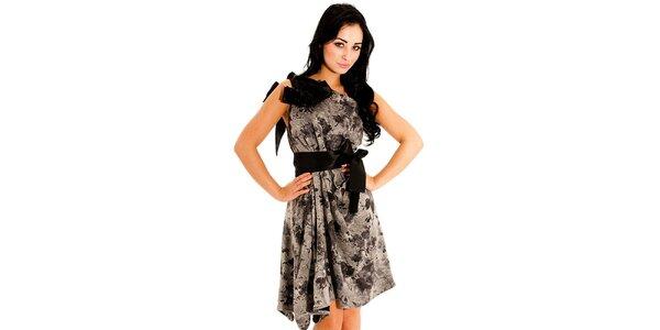 Dámské černo-šedé společenské šaty Jolaby s velkou mašlí
