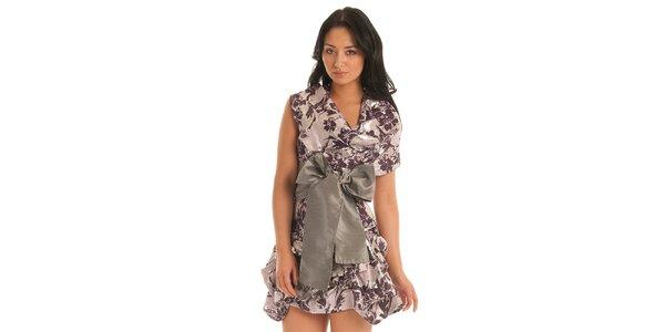 Dámské fialové šaty Jolaby s velkou stříbrnou mašlí