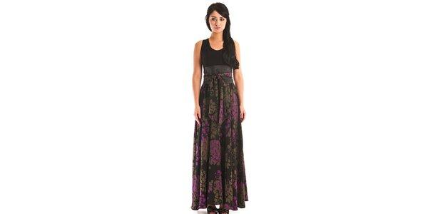 Dámské dlouhé černé šaty Jolaby s hnědo-fialovým vzorem