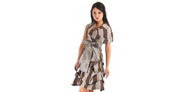Dámské šedo-hnědé pruhované šaty Jolaby s velkou mašlí