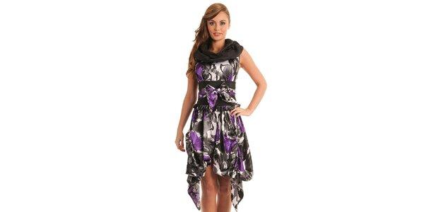 Dámské černo-fialové vzorované šaty Jolaby
