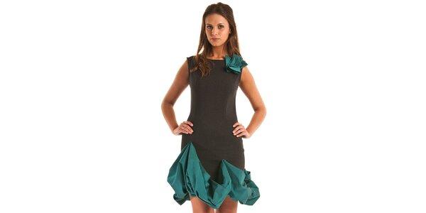 Dámské černé pouzdrové šaty Jolaby s tyrkysovým lemem