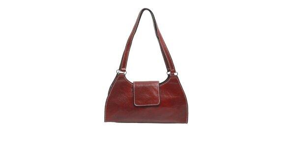 Dámská hnědočervená kožená kabelka Ore 10