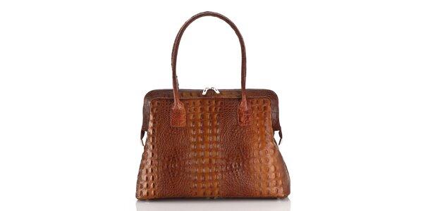 Dámská koňakově hnědá kožená kabelka Ore 10 s krokodílým vzorem