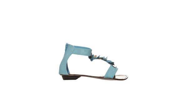 Dámské modré sandálky s kovovými penízky Yook for you