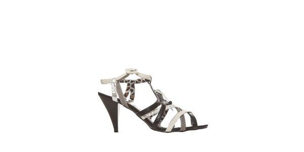 Dámské černo-bílé sandálky se zvířecím potiskem Yook for you