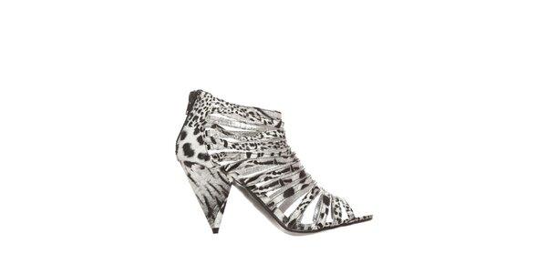 Dámské černo-bílé zvířecí sandálky Yook for you