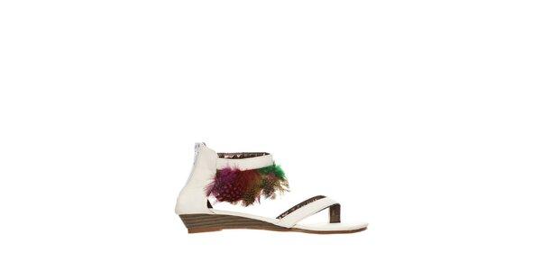 Dámské bílé sandálky s peříčky Yook for you