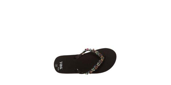 Dámské černé žabky s barevnými korálky Yook for you