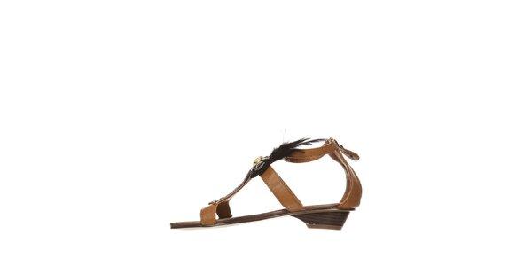 Dámské velbloudí sandálky s černým peřím a kamínky Yook for you