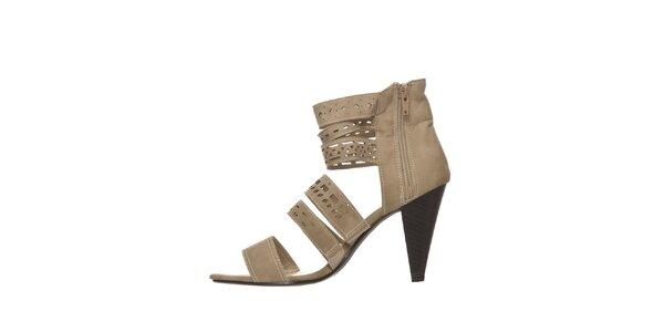 Dámské béžové perforované sandálky na podpatku Yook for you