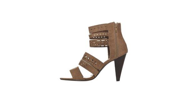 Dámské velbloudí perforované sandálky na podpatku Yook for you