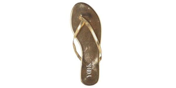 Dámské zlaté metalické žabky Yook for you