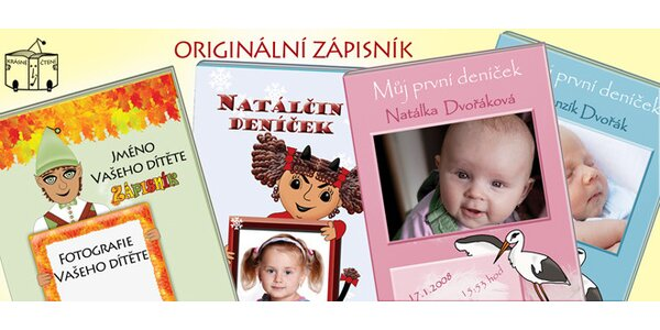 Zápisník se jménem a fotografií dítěte