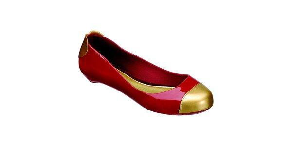 Dámské červené baleríny Melissa se zlatými detaily