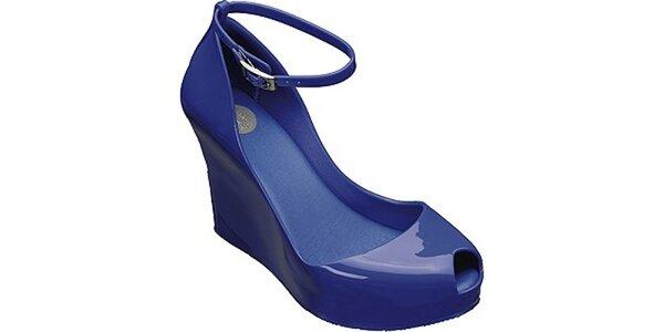 Dámské zářivě modré lodičky Melissa na vysokém klínku d444f8ad10