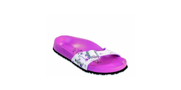 Růžové ortopedické pantofle Papillio s bílým páskem