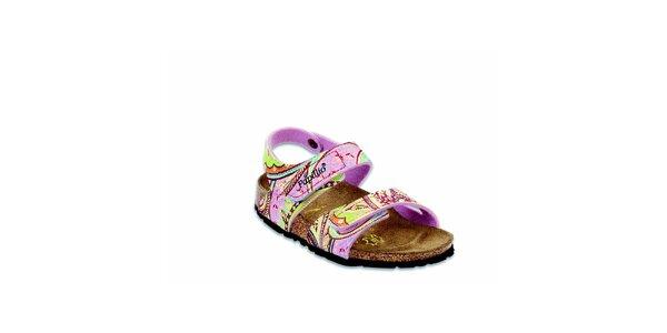 Dětské růžové sandálky s květinovým vzorem Papillio