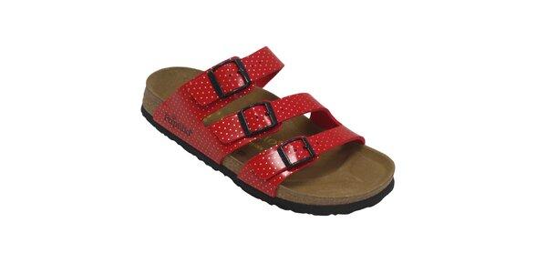 Dámské červené pantofle s puntíky Papillio