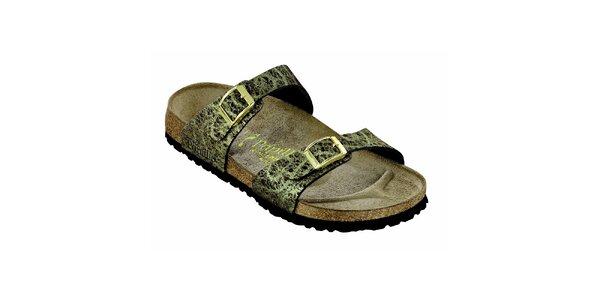 Dámské zlatohnědé pantofle Papillio