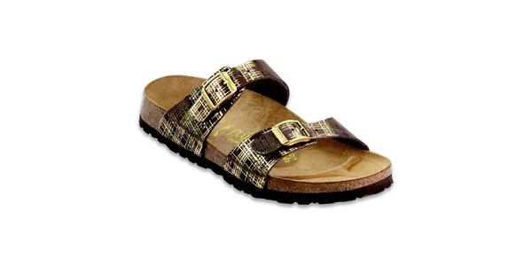 Hnědé pantofle Papillio se zlatými detaily