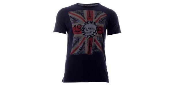 Pánské indigové tričko s barevným potiskem Lee Cooper