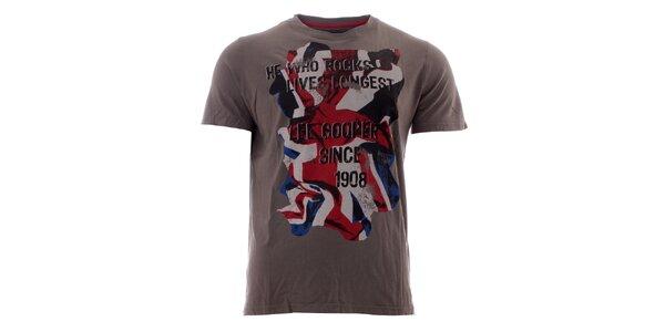 Pánské tmavě šedé triko s britskou vlajkou Lee Cooper