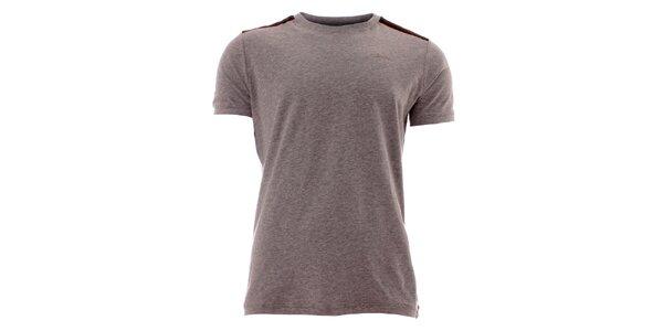 Pánské šedé tričko s pruhy na ramenou Lee Cooper