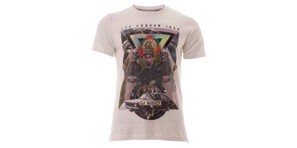 Pánské sněhobílé tričko s barevným potiskem Lee Cooper