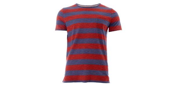 Pánské červeno-modré pruhované tričko Lee Cooper