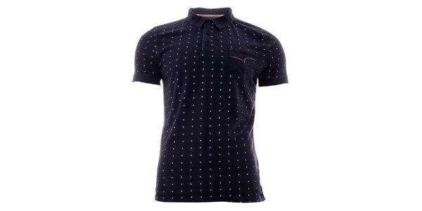 Pánské indigové polo tričko s bílými puntíky Lee Cooper