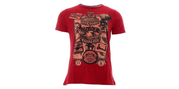 Pánské rudé tričko s barevným potiskem Lee Cooper