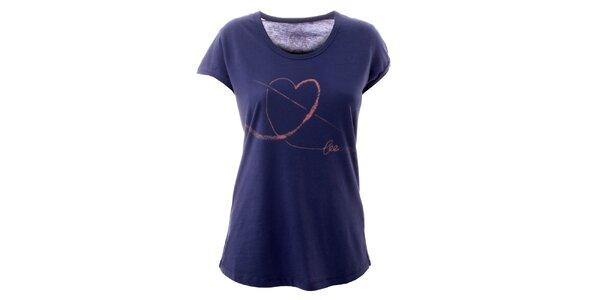 Dámské indigové tričko se srdíčkem Lee Copper