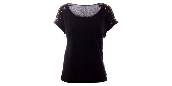 Dámské černé tričko s vykrojenými rukávy Lee Cooper